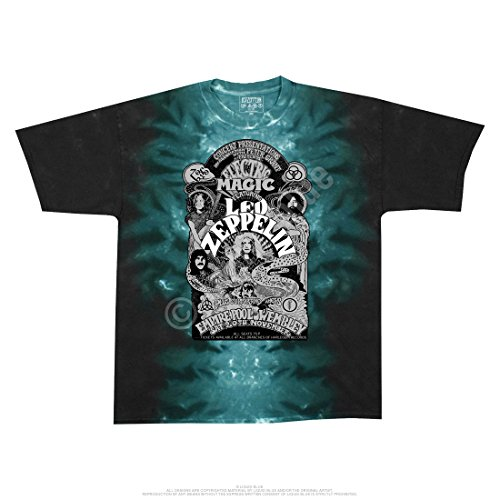 Magic Tie Dye (Liquid Blue LED ZEPPELIN ELECTRIC MAGIC Tie-Dye T-Shirt sizes S - 6XL)
