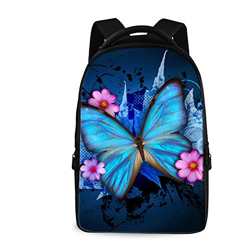 Showudesigns School Backpack for Women College Butterfly Print Large Capacity Bookbags High Sierra Laptop Backpack FIT 17.3 Inch/18 inch Notebook Rucksack Blue