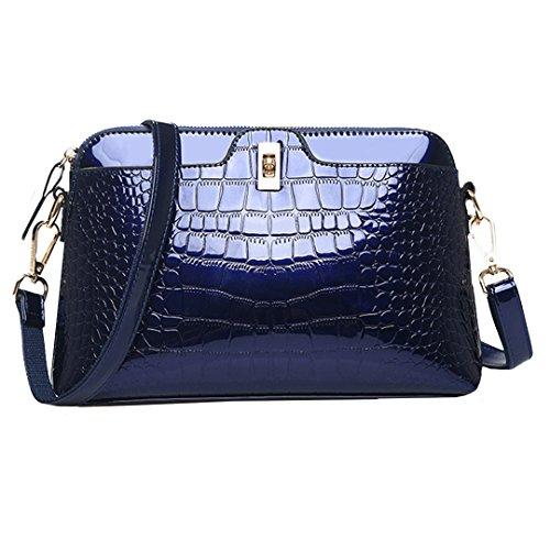 Amily Farbe PU Patent Leder Alligator Handtasche Schultertasche Cross-Body-Tasche Tote Geldbörse, Navy, One Size -