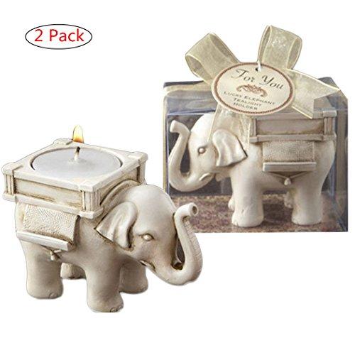 Medigy Duft Votivkerze Kerzenhalter Kerzenleuchter für Geburtstag Kerzen Teelichthalter Set 2Pack, Polyresin, White Elephant, 8.5 * 6 * 5cm(3.35 * 2.36 * 2inch)