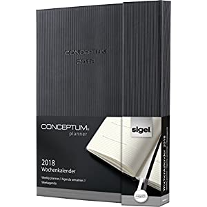 Sigel C1816 Weekly Diary 2018, approx. A5, hardcover, black, magnetic fastener, CONCEPTUM