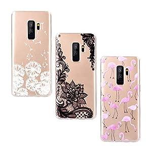 Yokata [3 Packs] Kompatibel mit Hülle Samsung Galaxy S9 Hülle Silikon Transparent Durchsichtig Handyhülle Schutzhülle TPU Dünn Slim Kratzfest mit Motiv – Flamingo + Löwenzahn + Spitze