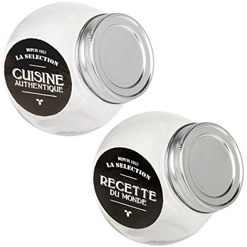 Promobo - Set Duo Bocaux Verre Pot A Epices 150ml Déco Rétro Design Bistrot Avec Couvercle