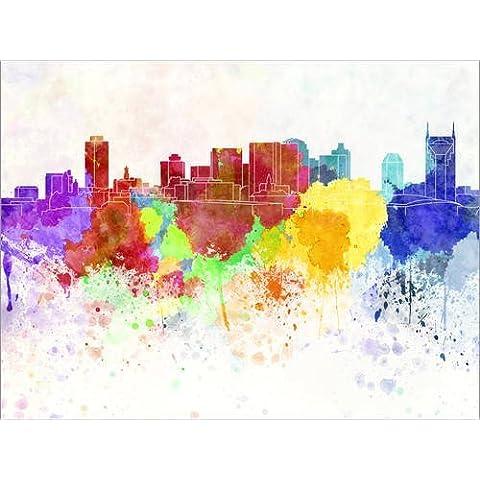 Stampa su tela 90 x 70 cm: Nashville skyline di Colourbox - poster pronti, foto su telaio, foto su vera tela, stampa su tela