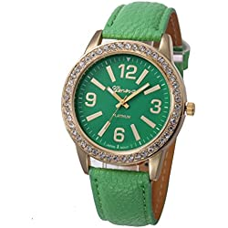 WINWINTOM Women Stainless Steel Analog Leather Quartz Wrist Watch Green