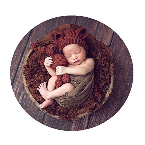 Neugeboren Shooting babyfotografie Stützen Jungen Mädchen Handgefertigte Strick Foto Stützen Hut mit Puppe (Coffee)