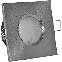 Foco empotrable para baño IP65cuadrado (sin bombilla), color aluminio cepillado, 12V MR16230V (Casquillo GU10, incluye Adecuado para halógeno y LED Bombilla 49–51mm, resistente al agua, libre de óxido
