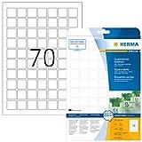 Herma 10105 Ablösbare Etiketten (A4 quadratisch ablösbar Papier matt, 24 x 24 mm) 1750 Stück weiß