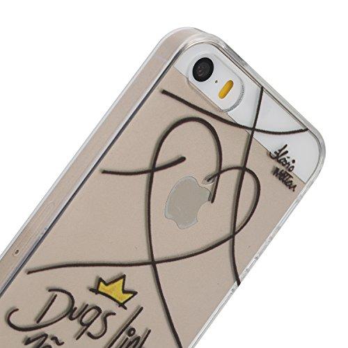 Apple iphone 6S Transparent Silikon Case, iphone 6 hülle,Ekakashop Ultra dünn Slim Durchsichtig Transparente Muster Crystal Gel Silikon TPU Motiv Bumper Cas Schutzhülle Etui Tasche Cover Schutz Hüllen Liebe Linie