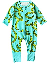 03d017a2e8c BOBORA Unisex Baby Romper Baby Boys Girls Sleeper Flower Print Zipper  Jumpsuit One Piece Outfits Pajamas
