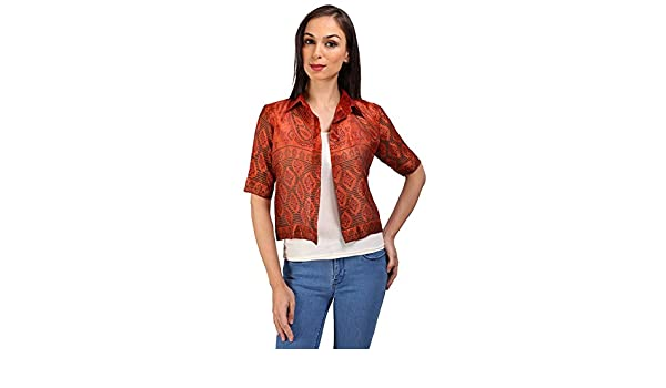 fe9a59df56aaa4 Ishi Women s Banarasi Silk Shirt  Amazon.in  Clothing   Accessories