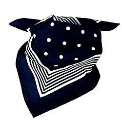 Navy Blue With White Stripes & Polka Dot Bandana Neckerchief by Ties Planet