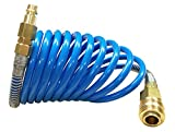 Druckluftschlauch Druckluft Spiralschlauch 3 Meter mit Kupplung Stecknippel