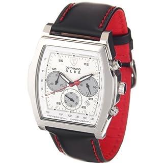 DeTomaso Check – Reloj de Caballero de Cuarzo, Correa de Piel Color Negro (con cronómetro)