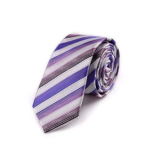 Z-P Mens Elegant Necktie Purple Gradient Stripes Jacquard Tie