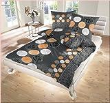 Dobnig Fein Biber Bettwäsche 2tlg. Schwarz-Orange Punkte 17718-221 Bettbezug 80x80 cm / 155x220 cm