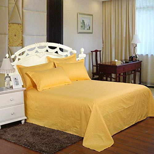 PENVEAT Weiße Streifen Hotelbettlaken 100% Satin Baumwolle 40S Flachbettlaken Luxusbettwäsche Bettwäsche 160 * 235.200 * 235.230 * 235cm, 235cm * 260cm, Goldfarbe, 235cmx260cm