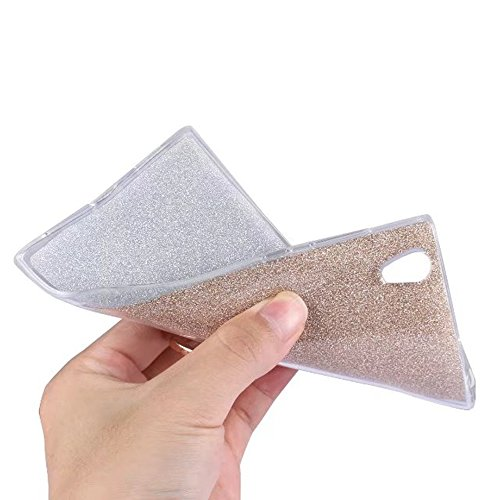 Soft Flexible TPU Back Cover Case Shockproof Schutzhülle mit Bling Glitter Sparkles und Kickstand für Sony Xperia L1 ( Color : Blue ) White