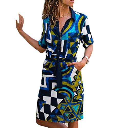 1dae32c0b4 Camisa De Manga Larga para Mujer Vestido De Gasa De Verano Boho Vestidos De  Playa Casual Estampado De Rayas Una LíNea Vestido De Fiesta Mini