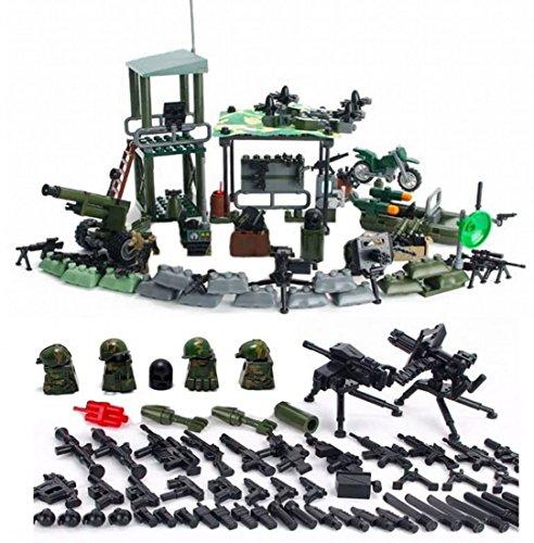 Mini figure avamposto della giungla esibizioni militari con armi e accessori militari soldati esercito guerra guns accessori mattoni da costruzione soldato costruzioni lego compatibile minifigures