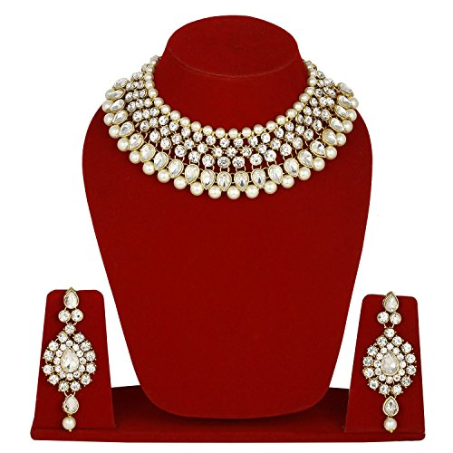 Colors Bridal Pearl Necklace Set In Gold Tone With Tikka For Women...