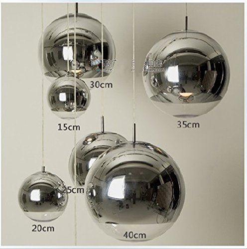 GENERIC diameter 15cm : Modern Fashion Plated silver glass ball pendant light fixture E27 restaurant chrome pendant lamp