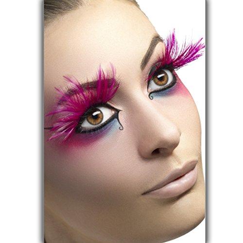 Amakando Falsche Wimpern Karneval - pink - Künstliche Wimpern mit Federn Unechte Wimpern Showgirl Kunstwimpern Wimpernverlängerung Lange Federwimpern