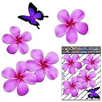 Fiore frangipani plumeria rosa doppio + farfalla adesivi auto autoadesivi - ST00024PK_SML - JAS Stickers
