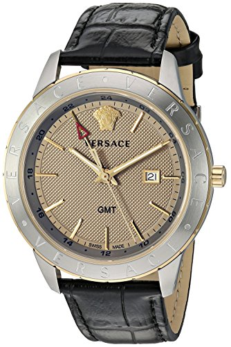 Versace Men's 'BUSINESS SLIM' Quartz and Leather Watch, Color Gold-Toned (Model: VEBK00218)