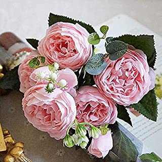 5 Big Heads/Bouquet Peonies Artificial Flowers Silk Peonies Bouquet 4 Bud Flowers Wedding Home Decoration Fake Peony Rose Flower, 4