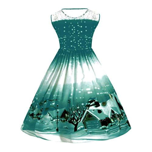 Frauen Weihnachten Kleid Plus Größe mingfa Weihnachts 3D-Druck Vintage elegantes A-Line Ärmelloses Party Abend Swing Kleider 4XL Green 1