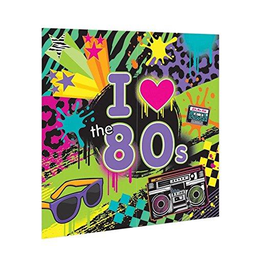 PST I love the 80's Scene Setter 1,65m x 1,65m (Musik Piraten Kostüm)