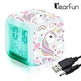 Sveglie digitali Unicorn per ragazze, LED Night Cube incandescente Orologio LCD con bambini leggeri Sveglia Comodino Regali di compleanno per bambini Donne Camera da letto per adulti (7)