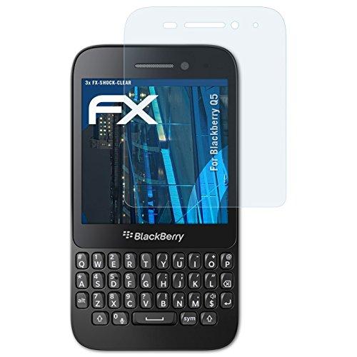 atFolix Schutzfolie kompatibel mit BlackBerry Q5 Panzerfolie, ultraklare & stoßdämpfende FX Folie (3X)