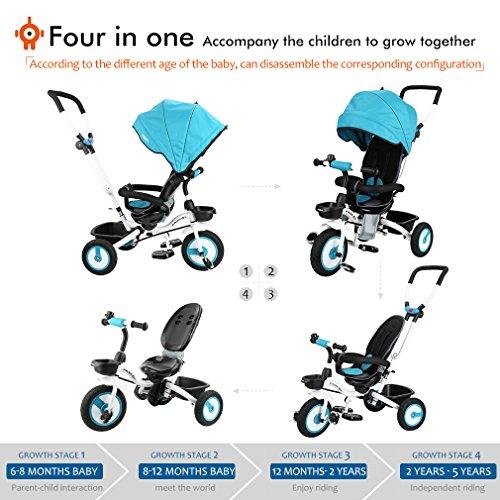 2567f35c5cc7a9 Fascol Baby Dreirad 4-in-1 Klappbar Trike mit Schubstange und Sonnendach  Abnehmbarer Kinderdreirad Flüsterleise Gummireifen ab 6 Monate bis 5  Jahren, ...
