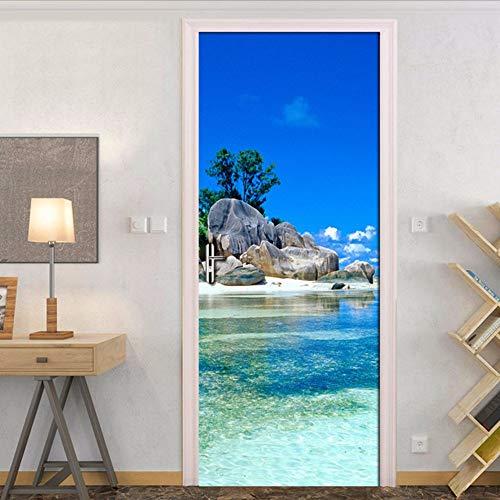 Lsfhb Blauer Himmel Weiße Wolken Insel Landschaft 3D Tür Aufkleber Fototapeten Wohnzimmer Schlafzimmer Wasserdichte Tür Aufkleber Wohnkultur-400X280Cm