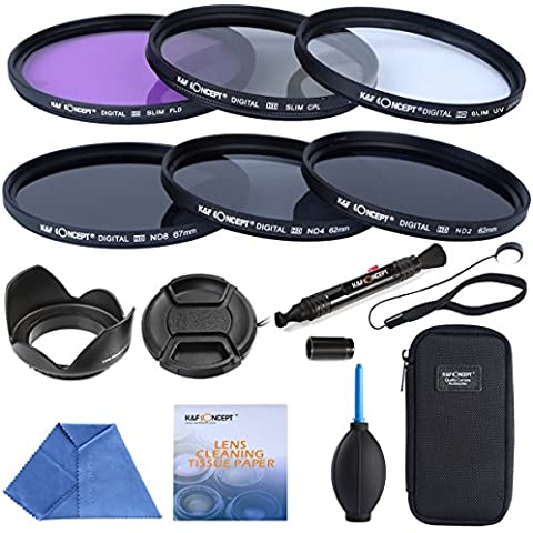 K&F Concept 67mm UV CPL FLD ND2 ND4 ND8 Delgadas Lentes Filtro Kit para Canon 600D 450D 100D 650D 700D 550D Nikon D7100 D5100 D3100 D7000 D5000 D3000 + 6-Slot Bolsa de Filtro + Tapa de Lente + Parasol para Objetivos + Paño microfibra + Pluma de Limpieza + Papel de Limpieza + Tapa Keeper Correa + Soplador de