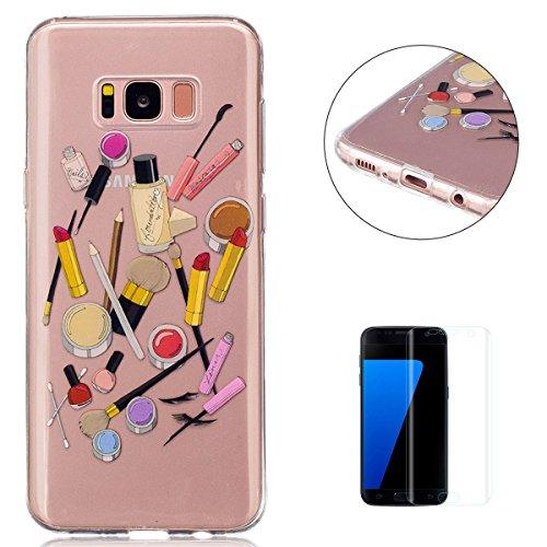 KaseHom Compatible for Samsung Galaxy S8 Plus Hülle Durchsichtig Super WeichSilikon Gel Hülle (Mit FreiDisplayschutzfolie) Gummi Schützend Fall Deckel Shell Haut Perfekte Passform