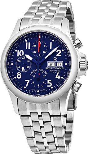 Revue Thommen velocidad del aire piloto 41mm para hombre acero inoxidable esfera azul reloj cronógrafo automático día fecha Swiss reloj 17081.6139