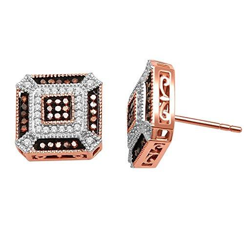 earrings-midwestjewellery Damen cognac Diamant Rose Gold Ohrstecker 10mm breit quadratisch Schraubverschluss 1/3cttw