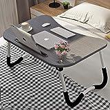 YY&L Multifunktionale Tragbare Klapptisch - Laptop-Tisch Schlaf Lazy Learning Table - Mit Karten-Slot - Schwarz / 60Cm,Black