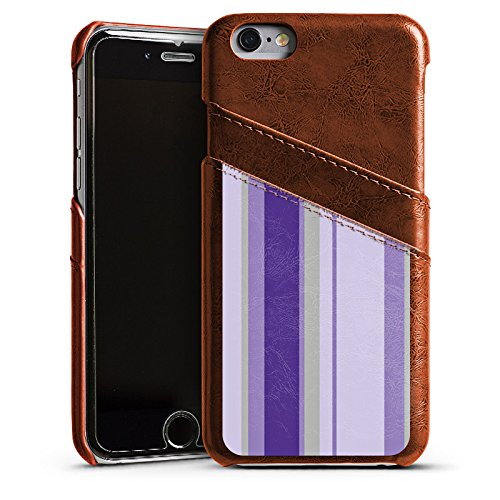 Apple iPhone 5s Housse Étui Protection Coque Bandes Lilas Violet Étui en cuir marron