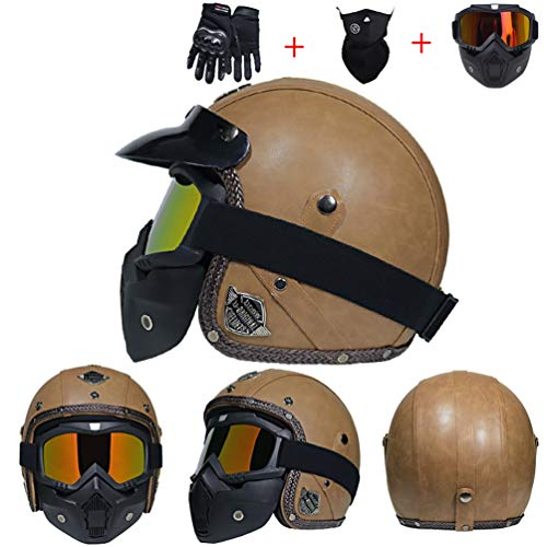 Casco moto in pelle Harley anti nebbia UV protezione integrale moto Caschi con lente moto Motorcross Caps per Outdoor Racing ciclismo mountain bike