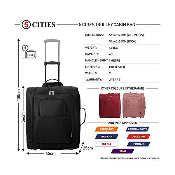 51L5YSvcQeL. SS600  - Easyjet e British Airways 56x45x25cm bagaglio a Mano massima approvato Trolley, 60L Capacità,(2X Negro)