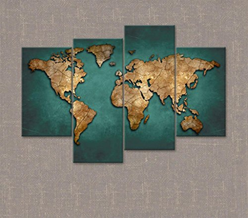 Kitzen Leinwandbilder Einer Weltkarte in Braun und Tan für Dein Schlafzimmer - Große Vintage Wandkunst - 4206 - (58,67 * 34,15in) Gute Qualität