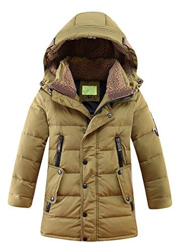 Daunenjacke für Kinder kälteschutz lange Jacke mit abnehmbar Kapuze in 140