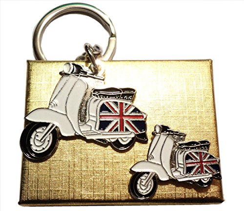 GB Union Flagge Seitendeckel Scooter Badge & Schlüsselring Mod Metall Emaille Set -