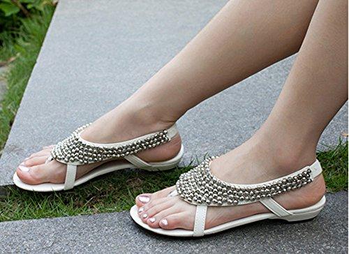 Aisun Femme Confortable Strass Talon Bas Sandales Blanc