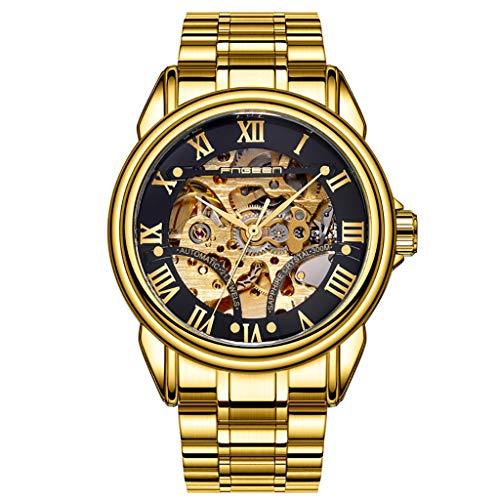 Huacat Herrenuhr Edelstahl Mode Hohlrad Automatische Mechanische Uhr wasserdichte Klassisch Metallband Herrenuhren