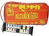 Weico 99042 - Gesellschaftsspiel, X-age Rummy 104 Steine mit großen Zahlen, 6 Joker, 4 Bänke, Reißverschlusstasche, mehrfarbig